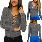 Womens Long Sleeve Deep V Rib Knit Lace Up Pullover Blouse Tops Clubwear Shirt