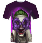 New Fashion Womens/Mens Purple Joker Batman Funny 3D Print T-Shirt US08