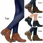 New Women TCH Black Tan Western Ankle Booties Riding Low Heel Boots 5.5 to 10