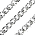 Silver Plated Bulk Chain, 7.5x6.5mm Parallel Curb Links with Rolo Accent