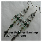 Chandelier Earrings Green Black Silver Plated Ling Earrings Millefiori Feathers