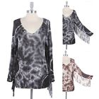 Women's Tie Dyed Knit Top Tunic Tassel Accent Sleeve and Back Wide V Neck S M L