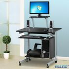 Home Office Study Workstation Computer PC Table Desk With Wheel & Side CD Rack