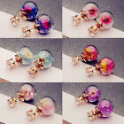 1 Pair Women Lady Girl Elegant Flower Round Rhinestone Ear Stud Earrings New