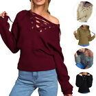 Fashion Women V-Neck Autumn Long Sleeve Knitted Sweater Loose Blouse Knitwear