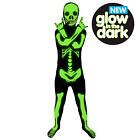 Childs Glow In Dark Skeleton Official Morphsuit Halloween Fancy Dress Age 8-12