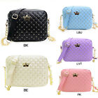 Fashion Women's Messenger Bag Rivet Chain PU Leather Crossbody Quiled Crown Bags