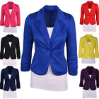 Womens Blazer Jacket Suit Work Casual Basic Long Sleeve Candy Color Button Tops