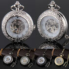 Steampunk Skeleton Mechanical Black Gold Large Window Retro Quartz Pocket Watch