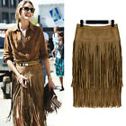 Women Fashion Boho High Waist Fringed Wiggle Tassel Suede Cocktail Long Skirt