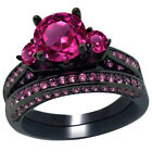 Women's Created Pink Sapphire Sterling Silver Bridal Wedding Ring Band Set
