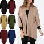 Womens Ladies High Low Golden Zip Up 3/4 Sleeve Contrast Collar Dip Hem Cardigan