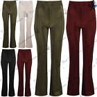 Womens Plain Baggy Bell Bottom Ladies Pleated Fabric Elasticated Leggings Pants