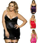 Plus Size M-5XL Women Ruffles Babydoll Chemise and Hipster G-string Lingerie Set