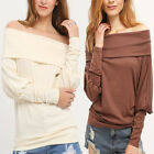 Sexy Womens T-Shirt Loose Cotton Shoulder Off Long Sleeve Casual Blouse Tops