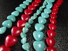 "12 / 18 / 20MM Blue /Red Turquoise Heart Loose beads Gemstone Jewelry 16""L T207"