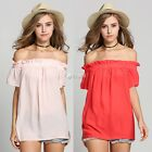 Sexy Women Summer Casual Off Shoulder Evening Party Beach Dress Short Mini DZ88