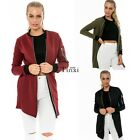 Womens MA1 Long Line Bomber Jacket Classic Style Zip Up Biker Vintage TXWD