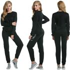 Women Velour +Pant Tracksuit Sport Yoga Running Suit Set Winter Solid New TXWD