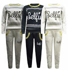 New Ladies Womens Selfie Print Quilted Sweat Shirt Trouser Lounge Wear Tracksuit