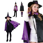 Adult Kids Girls Halloween Party Witch Coats Cloak Cosplay Fancy Dress Costumes