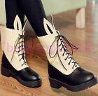 Fashion Ladies Elegant Cute Cross Strap Color Stitching Ankle Boots Shoes Sizes