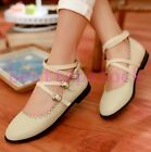 Fashion Ladies Chic Elegant PU Leather Ankle Strap Buckle Party Prom Shoes Sizes