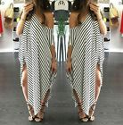 Women Striped Asymmetric Batwing Sleeve Party Cocktail Long Maxi Dress