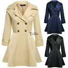 Hot Turndown Collar Long Double-breasted Trench Windbreaker Outwear Jacket TXWD
