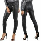 Womens Zip Pocket Leather Look Ladies Skinny Trousers Pvc Jeggings Sizes 6-14