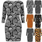 Ladies Halloween Scary Pumpkin Spider Cobweb Floral Skull Bodycon Fit Mini Dress
