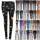 Ladies Halloween Scary Pumpkin Spider Cobweb Jeggings Floral Skull Fit Leggings