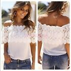 Korean Style Ladies Blouse Off Shoulder Lace Splicing Sexy Chiffon Patchwork Top