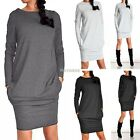 Womens Winter Long Sleeve Jumper Tops Ladies Bodycon Sweater Tunic Mini Dress AU