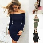 UK Womens Bodycon One Shoulder Dress Ladies Party Evening Mini Dress Size 6-14