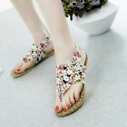 Women Girl's Beach Summer Floral Fabric Flip Flop T-Stap Flat Sandals Holiday