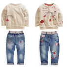 New 2Pcs Fancy Kids Baby Girl Tops + Jeans Denim Pants Set Outfits Cute Clothing