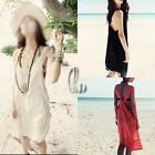 AU SELLER Womens Sexy Cotton Backless Beach Bikini Cover Up Dress Sundress sw009