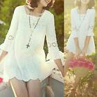 AU SELLER Womens Girls Lovely Casual White Lace Long Top SZ S/AU6-8 dr073