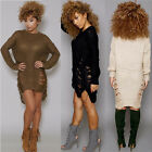 Women O-neck Long Sleeve Sweater Retro Ripped-holes Knit Pullover Sweater