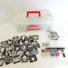 Glitter Tattoo Kit 40 - Halloween Theme 66 Stencils 8 Glitter Glue Brushes Box