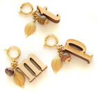 John Wind Charm for Bracelet or Necklace Gold Carved Wood Initial Jewelry New