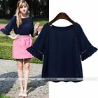 Fashion Women's Navy Blue Half Sleeve Lace Casual Shirt Loose Tops Blouse S-XL