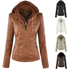 Women Winter Warm Casual Slim Hooded Trench Coat Parka PU Leather Jacket Outwear