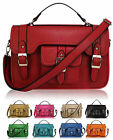 Ladies Leather Style Satchel Saddle iPad Bag Women Massenger Crossbody Handbag