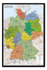 Germany Map Pinboard - Large Framed Cork Board With Pins Ready To Hang
