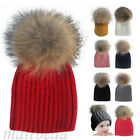 New Kids Baby Girl Winter Knit Beanie Raccoon Fur Pom Bobble Hat Crochet Ski Cap