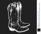 "Cowboy Boots Decal WHITE 5""x3.7"" Rodeo Western Cowgirl Vinyl Window Sticker XL5"