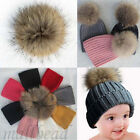 Lovely Kids Baby Girl Winter Knit Beanie Fur Pom Bobble Hat Crochet Ski Cap New