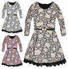 Girls Floral Lace Party Dress New Kids Long Sleeved Flower Dresses 3-12 Years
